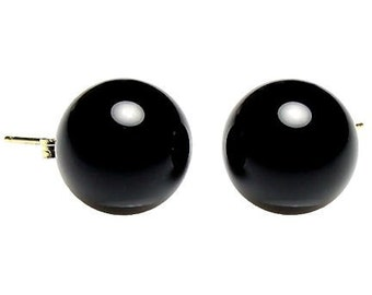 12mm Natural Jet Black Onyx Ball Stud Post Earrings, Solid 14K Yellow Gold, Black Earrings, Handmade Earrings, Large Earrings, Onyx Earrings