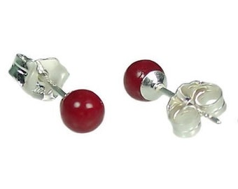 Petite 4mm Italian Red Coral 925 Sterling Silver Ball Stud Post Earrings