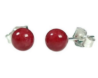 6mm Italian Red Coral Ball Stud Post Earrings 925 Sterling Silver
