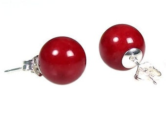 10mm Italian Red Coral Ball Stud Post Earrings 925 Sterling Silver