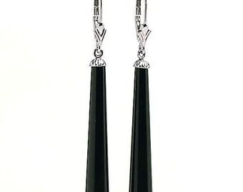 35mm Slender Black Onyx Teardrop Leverback Earrings, Solid 14K Gold, Onyx Dangle Earrings, Black Earrings, 14K Yellow Gold, 14K White Gold