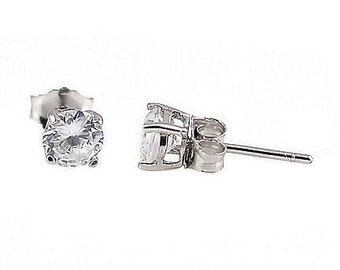 4mm 0.5 carats Brilliant Cut Russian Ice Diamond CZ Cast Basket Stud Earrings Sterling Silver, SMS30022-0574