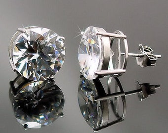 12mm, 12.5cts Brilliant Cut Ice on Fire Diamond CZ Cast Basket Stud Earrings 925 Silver, SMS30028-0579