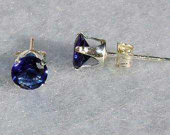 4mm, 0.50 carat created Ceylon Sapphire Stud Earrings 925 Sterling Silver, Serene SDI30094-0695