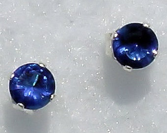 6mm, 1.5 carat Simulated Sapphire Stud Earrings, Solid 925 Sterling Silver settings, Pierced Ears, Blue Earrings, September Birthstone