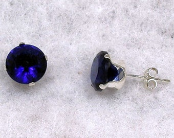 5mm, 1.0 carat created Ceylon Sapphire Stud Earrings 925 Sterling Silver, Serene, SDI30095-0696