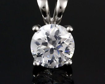 1.0 carat Brilliant Cut Russian Ice Diamond CZ 6.5mm Solitaire Pendant 925 Sterling Silver, SMS60166-0097