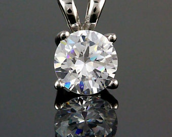 7mm 1.25 carat Brilliant Cut Russian Ice Diamond CZ Solitaire Pendant 925 Sterling Silver, SMS60167-0101