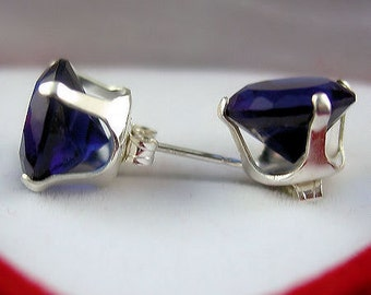 10mm, 8.0 carat, Created Ceylon Sapphire Stud Earrings, 925 Sterling Silver, Serene 100-0470