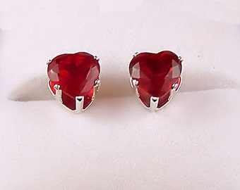 1.0 carat Heart Cut Red Fire Garnet CZ 5mm Stud Post Earrings 925 Sterling Silver, SDI30255-0559