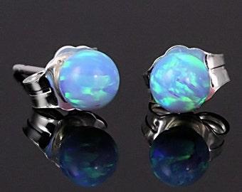 4mm Australian Azure Blue Opal Ball Stud Post Earrings, Solid 925 Sterling Silver, Small Minimalist Earrings, Petite, Blue Opal Earrings