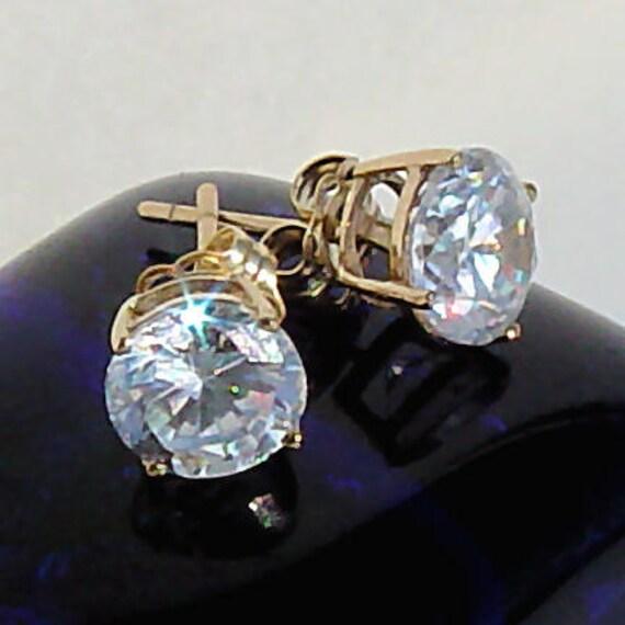 6.5mm 2.0 carat Russian Ice Diamond CZ Cast Basket Set Stud Earrings 14K Yellow Gold, MTK30006-0147