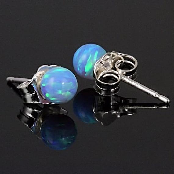 4mm Australian Azure Blue Opal Ball Stud Post Earrings, Solid 14K White Gold, Small Minimalist Earrings, Petite, Blue Opal Earrings