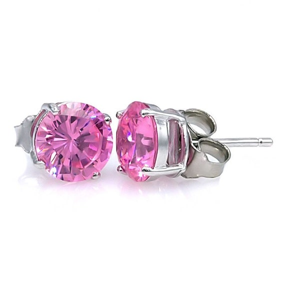 6mm 1.50 carat Pink Sapphire Ice Basket Set Stud Earrings 925 Sterling Silver, SMS30204-0721