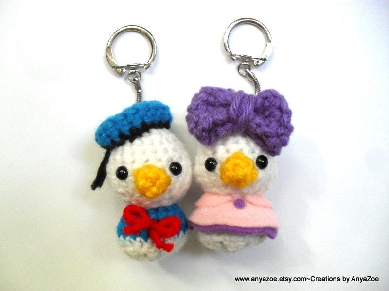 Amigurumi Finger Puppets Free Pattern : Donald and Daisy Duck Amigurumi Keychains by AnyaZoe on Etsy