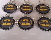 6 Superhero Batman Bottle Cap Necklaces Party Favors.