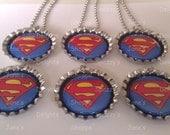 6 Superhero Superman Party Favors Bottle Cap Necklaces / Zipper Pulls / Keychains