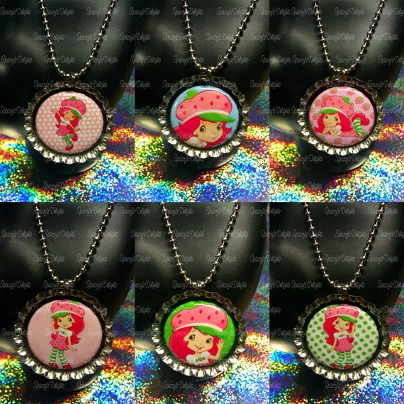 RESERVED for LISA 10 Strawberry Shortcake Flat Back Button Bottle Cap Necklaces. RUSH Order