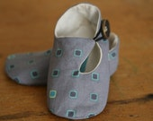 Modern Baby Shoes Gray and Blue Geometric Loafers - Last Pair - SALE