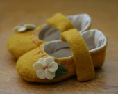 Last Pairs, Ready to Ship - Baby Girl Shoes, Soft Sole Baby Booties, Toddler Girl Shoes, Mustard Yellow and Pink Mary Jane