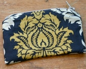 Fabric Zippered Coin Purse - Gray and Mustard Yellow Damask Print - Ready to Ship