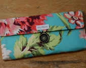 Womens Wallet - Turquoise and Coral Floral With Zipper Pocket - Ready to Ship