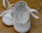 Flower Girl Shoes - White Linen Ballet Slipper Baby and Toddler Girl