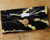 Womens Wallet Black and Yellow Birds and Blossoms Fabric With Zipper Pocket