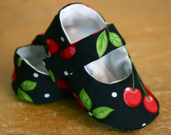 Cherries and Polka Dots Mary Jane Baby Booties 9-12 months - Last Pair, Ready to ship