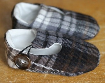 Baby Boy Shoes, Baby Booties, Soft Sole Baby Shoes, Brown and Gray Plaid Loafers Ready to Ship