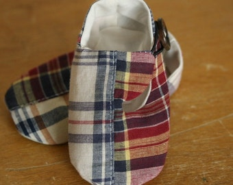 Last Pair, Ready to Ship - 4th of July Baby Boy Shoes Red White and Blue Patchwork Plaid Fabric Loafer