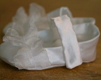 White Satin Ruffle Christening Shoes for Baby Girl, Toddler Girl, Flower Girl