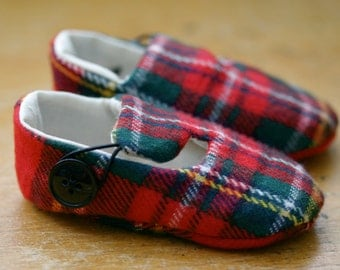 Baby Boy Shoes, Baby Girl Shoes, Soft Sole Baby Shoes, First Christmas, Red Plaid Christmas Loafer Baby Booties - Ready to Ship