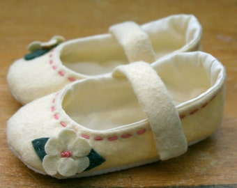 Ivory and Pink Wool Mary Jane Toddler Flower Girl Shoes, Soft Sole Baby Booties