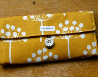 Womens Wallet Mustard Yellow Botanic Print, Ready to Ship