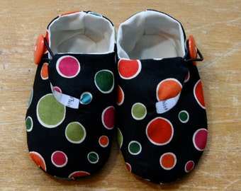 Sale Polka Dot Baby Shoes Black and Multi Color, Soft Sole Baby Booties - Ready to Ship