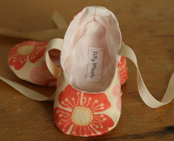 Coral Floral Ballet Slipper Baby Booties