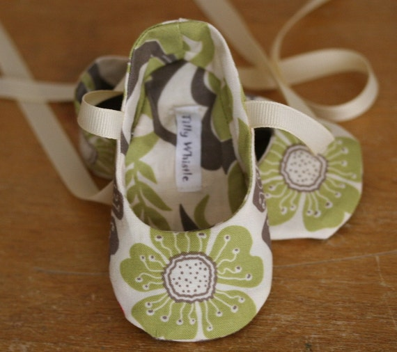 Lime and Taupe Floral Ballet Slipper Baby Booties