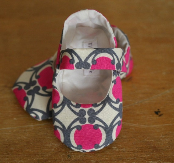 Baby Girl Shoes  Beautiful Pink Gray and Cream Mary Janes   - Free Shipping Etsy