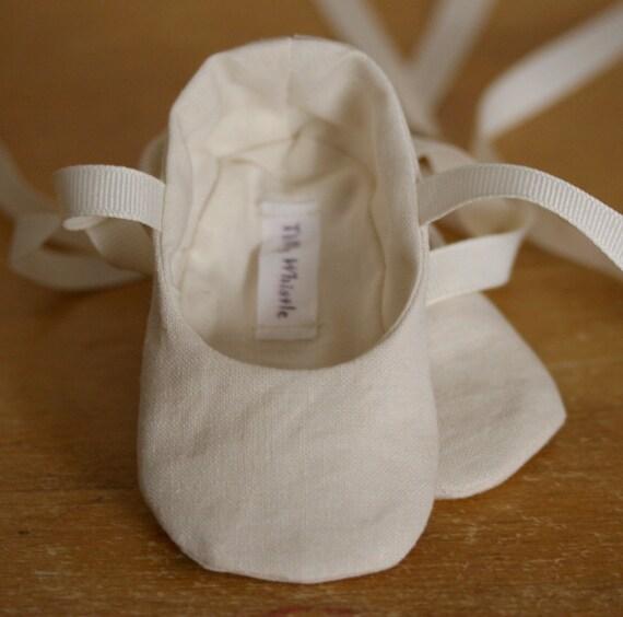 Ivory Linen Ballet Slipper Baby Girl Shoes