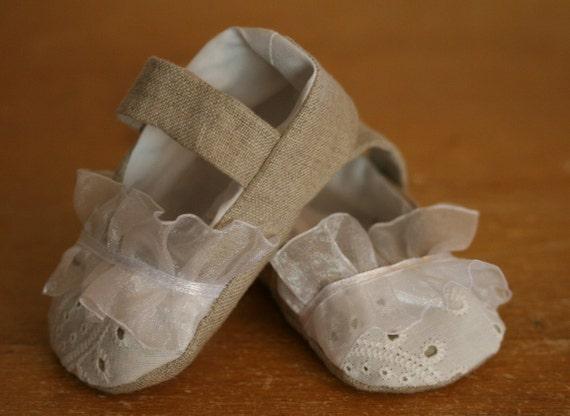 Baby Girl Shoes  Fancy Little Linen Mary Jane  Toddler Shoes - Christening - Flower Girl