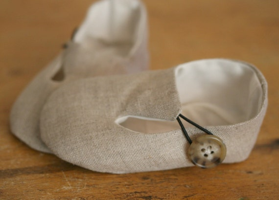 Baby Boy or Girl Shoes Linen Loafers a Favorite Shower Gift