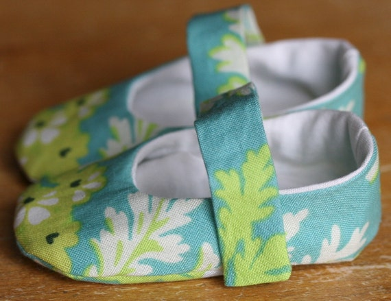 Turquoise and Lime Floral Mary Jane Baby Booties