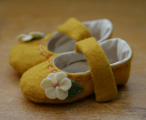 Mustard and Pink Mary Jane Baby Girl Shoes