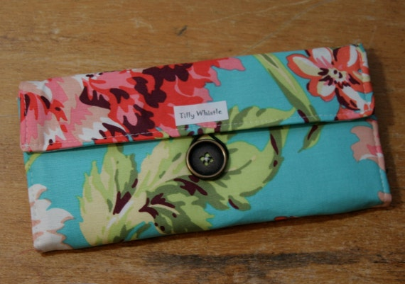 Handmade Wallet - Womens Wallet - Vegan Wallet - Turquoise and Coral Floral With Zipper Pocket