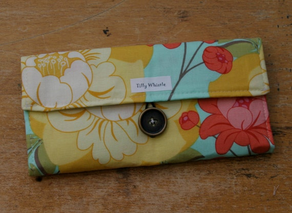 Fabric Wallet Flowers and Berries