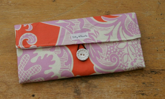 Fabric Wallet Coral and Lilac With Zipper Pocket -  Ready to Ship