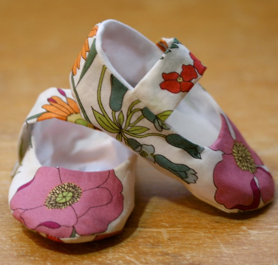 Baby Girl Shoes Colorful Wildflower Print Mary Janes