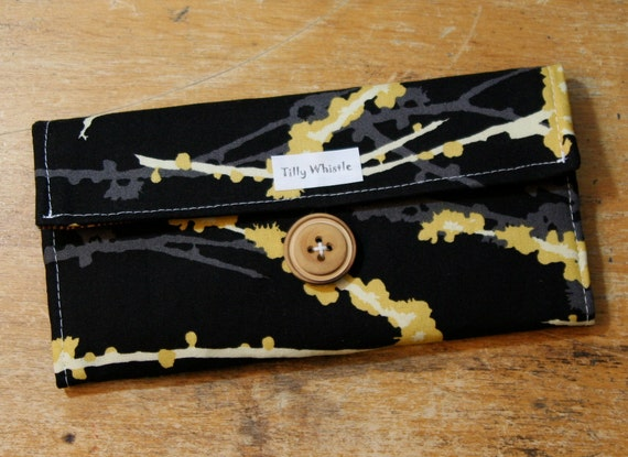 Womens Wallet Black and Yellow Birds and Blossoms Fabric With Zipper Pocket - Ready to Ship