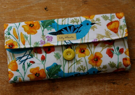 Christmas in July Sale - Womens Wallet with Zipper Pocket - Blue Birds and Poppies